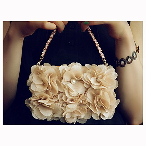 Spritech(TM) Fashion Women Elegant Chiffon Flowers Bling Pearl Decor Case Luxury PU Leather Wallet Case Flip Cover with Strap for Samsung Galaxy S4 I9500
