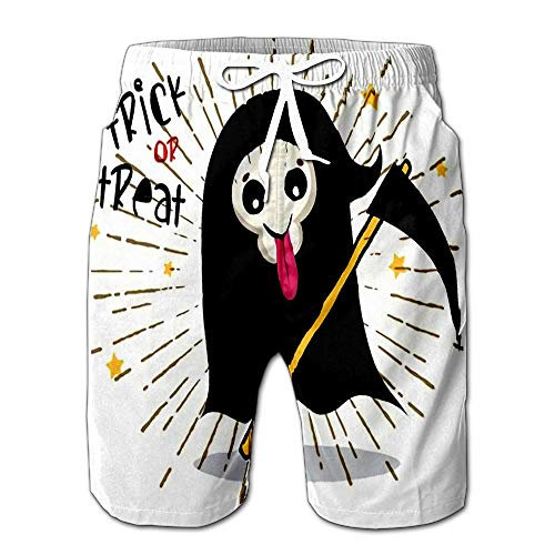 Quick Dry Cute Cartoon Grim Reaper with Scythe Halloween Skeleton Death Ch Beach Shorts Swim Trunks Board Shorts XL ()