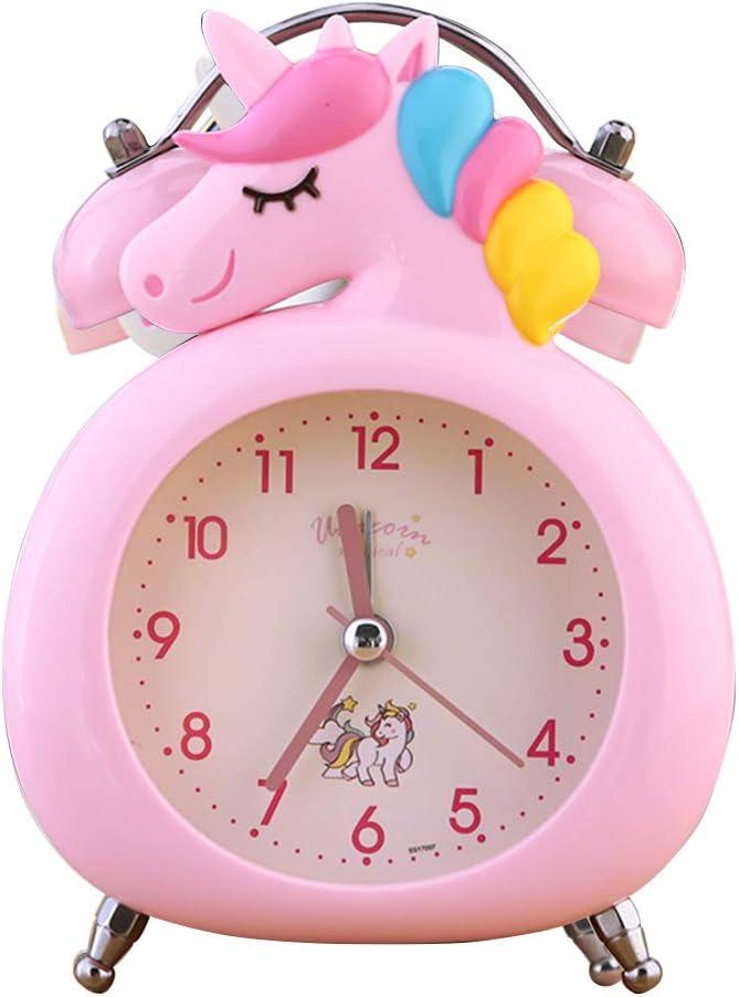 LZWH Disney Kinder Wecker Musik Kreative Nachtlicht Student Schlafzimmer Cartoon Meerjungfrau Nette Snooze Kleine Wecker,Pink