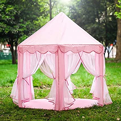 Princess Castle Play Tent House For Girls Indoor Outdoor Toy 56 x 54 inches Blue