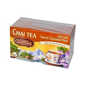 Celestial Seasonings 0686097 Chai Tea, descafeinado, dulce de coco tailandesa, 20 bolsitas de t-, 2,3 oz - 64 g - Caja de 6-20 Bolsa: Amazon.es: Hogar