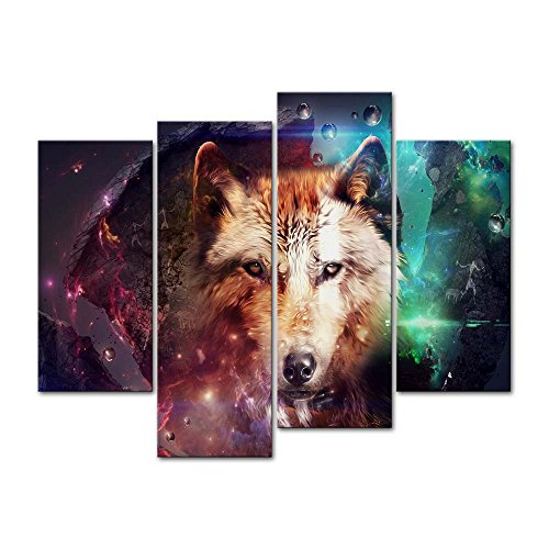 Canvas Print Wall Art Decor Wolf Picture Wild Animal Pictures Colorful 3D Artwork Poster Prints Stretched On Wooden Frame 4 Panel Image For Home Living Room Office (Wolf Art Wall Decor)