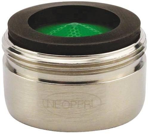 Neoperl 10 6020 5 Perlator HC Economy Flow Male Aerator, Regular, 1.5 GPM, Brushed Nickel, Honeycomb, Aerated Stream, Green Dome, 15/16'-27 Threads, Brass 15/16-27 Threads