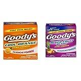 Goody's Extra Strength Fast Pain Relief Powder - Cool Orange Flavor - 24 Powders & Goody's Extra Strength Headache Powders, Mixed Fruit Blast Flavor-24 Powders