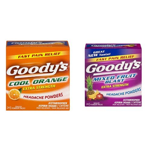 Goody's Extra Strength Fast Pain Relief Powder - Cool Orange Flavor - 24 Powders & Goody's Extra Strength Headache Powders, Mixed Fruit Blast Flavor-24 Powders