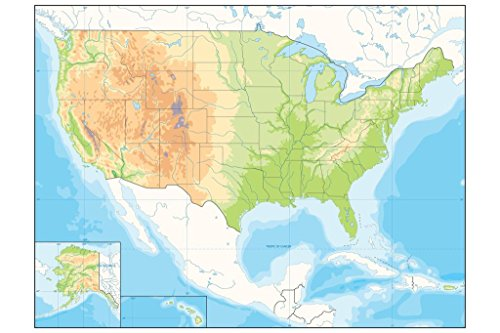 United States USA North America Map Detailed Relief Illustration Mural Giant Poster 54x36 inch