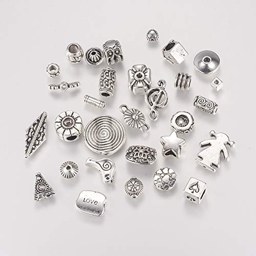 Pandahall 100g Tibetan Style Alloy Beads Mixed Shapes Wings Star Flat Round Spacer Beads Charms Antique Silver