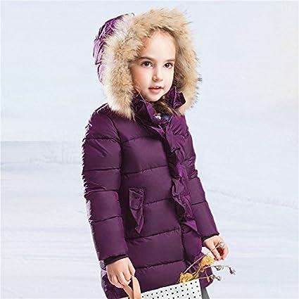 Bambine e Ragazze Piumino Invernale 90/% piume danatra bianca Giacche Cappuccio Pelliccia Sintetica Cappotto Bambina lunghe invernali