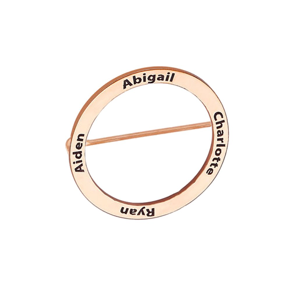 AOCHEE Personalized Disc Name Brooch Custom 4 Names Brooch Pins Engraved Jewelry (Rose gold)