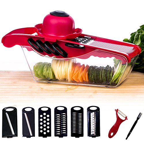 Eyocean Mandoline Vegetable Slicer Cutter Chopper - 6 Interchangeable Blades with Peeler, Hand Protector,Storage Container - Cutter for Potato,Tomato, Onion, Cucumber,Cheese etc - Rail Guard Holder