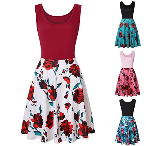 Floral Women Beach Sleeveless Mini linea Print Dress Summer Casual Una Pink With Party Smileq 5gtTnwxBq5