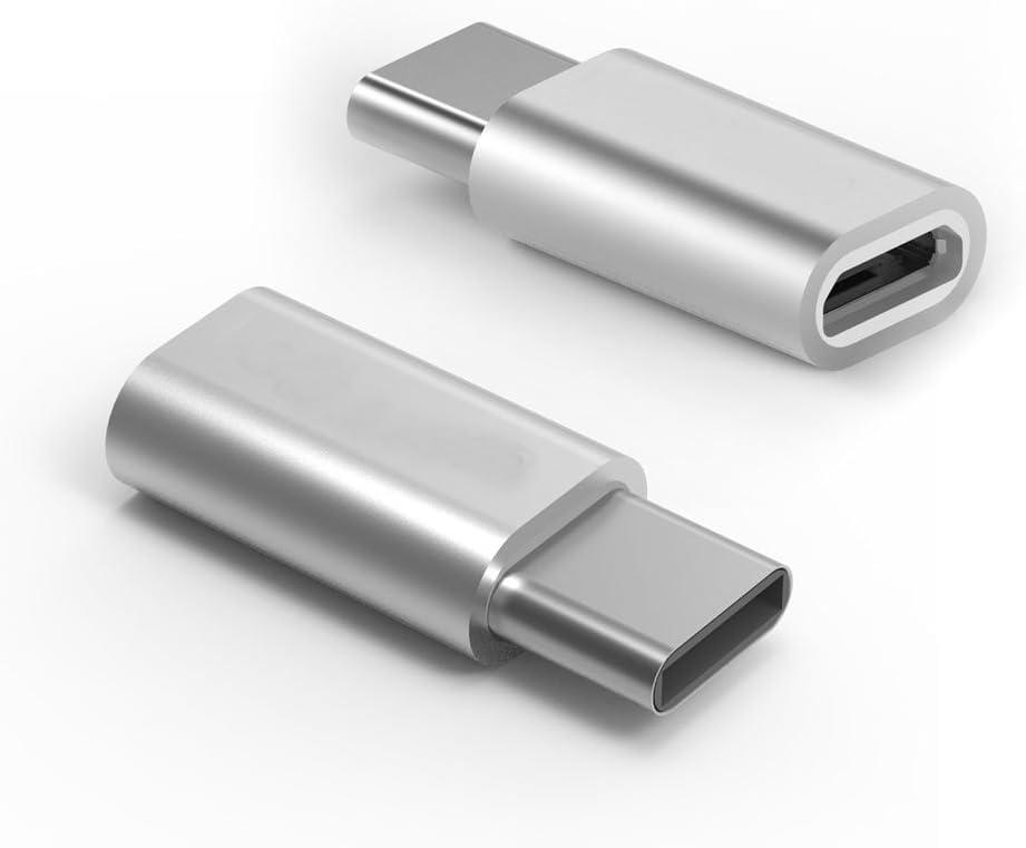 REY Adaptador Micro USB Hembra a USB 3.1 Tipo C Macho Conector Conversor Gris