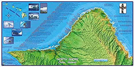Amazon.com: North Shore Oahu Hawaii Surfing Mapa cartel ...