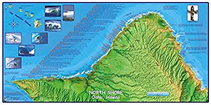 Amazon Com North Shore Oahu Hawaii Surfing Map Poster Sports