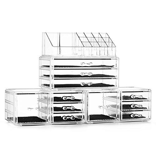 Felicite Home Acrylic Jewelry and Cosmetic Storage Boxes Makeup Organizer Set, 4 -