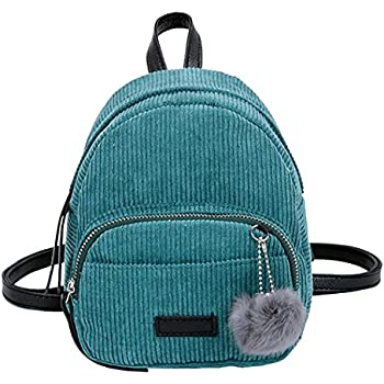 Creazrise Women Fashion School Bags Mini Thicken Corduroy Backpacks (Green)