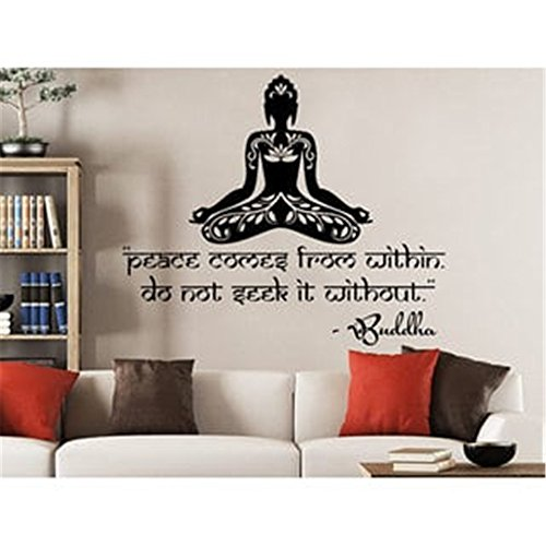 DIY-stickers Wall Sticker Inspirational Quotes Lotus Flower Buddha Peace Comes from Within Do not Seek it Without