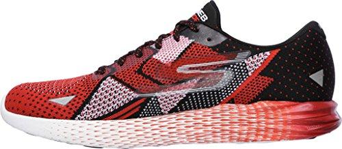 Skechers Mens Go Meb Razor Breathable Cushioned Track Running Shoes negro/ rojo