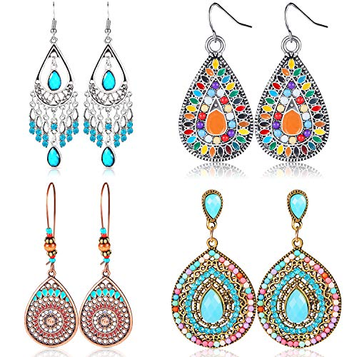 4 Pair Bohemian Vintage Earrings Dangle Drop Earring Jewelry Accessories for Women Girl Supplies