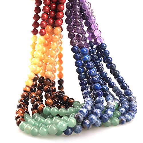 - ICAI Beads 4mm Natural Colorful Stone Round Loose Stone Beads for Jewelry Making DIY Crafts Design 1 Strand 15