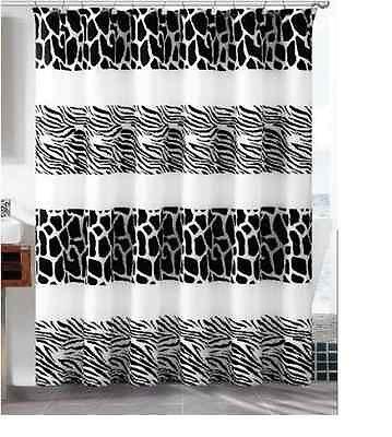 Zebra Safari Print Shower Bath Curtain With Hooks