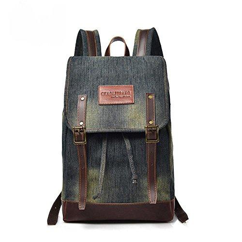 Aoligei Student sac rétro en toile lavé des voyages d'agrément vent cowboy sac à dos sac masculin Collège sac B