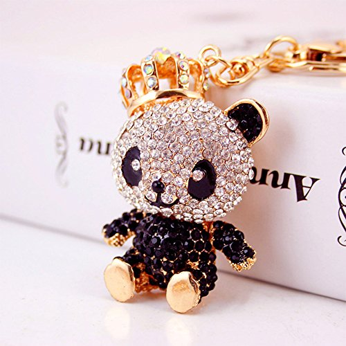 Jzcky Shzrp Lovely Crown Panda Crystal Rhinestone Keychain Key Chain Sparkling Key Ring Charm Purse Pendant Handbag Bag Decoration Holiday Gift(Black)]()
