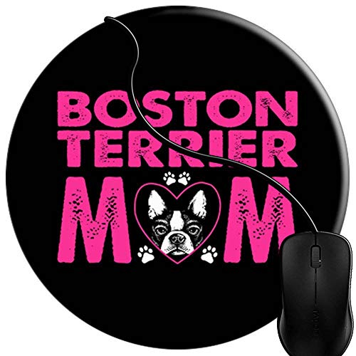 Mouse Pad Gaming Boston Terrier Mom Dogs Pets Lovers, Premium-Textured Surface, Non-Slip Rubber Base, Laser Optical Mouse Compatible, Mouse mat ()