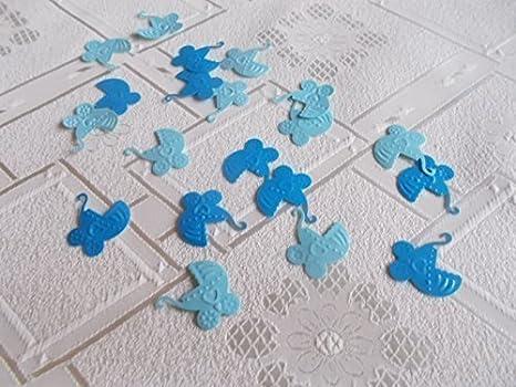 100 Stück Colorido Confeti lecho azul claro para niños (Carrito de bebé, COCHE DE BEBÉ) para Eventos como NACIMIENTO, bautizo etc.