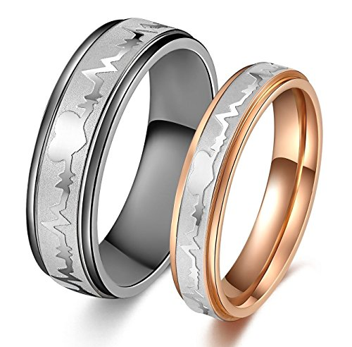Titanium Stainless Steel Heart Beat Chart Wedding Band Set Engagement Promise Anniversary Couple Ring