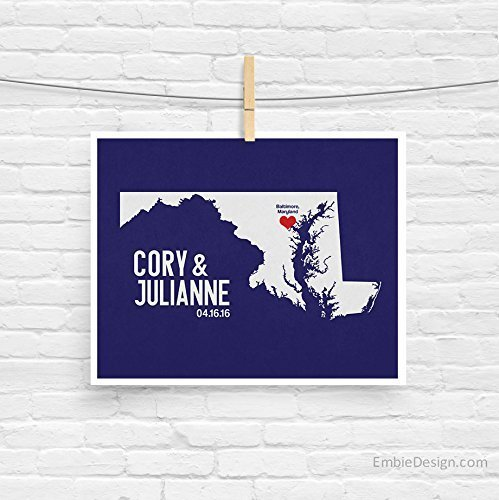 Maryland or ANY State Map Print with Couple's names wedding date and location (Party City Locations In Wisconsin)