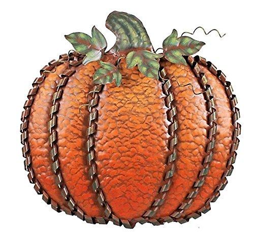 "Swirled Accents (Fall Harvest Metal Leaf Swirled Pumpkin Decor Pumpkin Stand Thanksgiving Decor 19""Tall (Orange))"