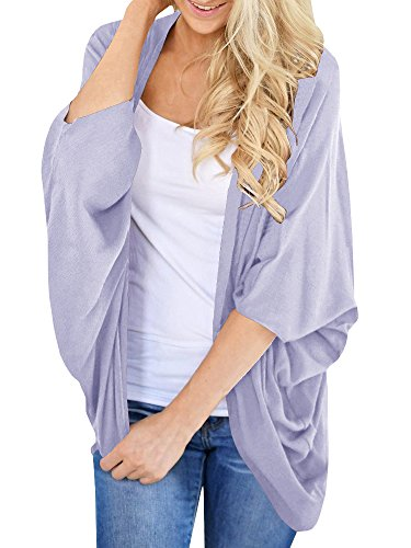 FISACE Womens Summer Open Front Batwing Kimono Cover Up Top Drape Cardigan Cape Light Purple