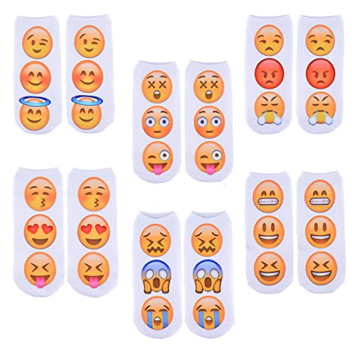 Zmart Funny Crazy Emoji Emoticons Smileys Smiling Face No Show Socks 6 Value Pack]()