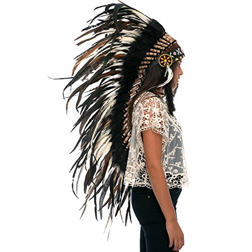 India Costume For Male (Long Feather Headdress- Native American Indian Inspired- Handmade by Artisan Halloween Costume for Men Women with Real Feathers - Natural Rooster)