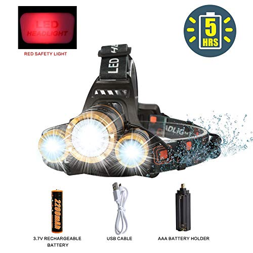 LED Headlamp Flashlight,COSOOS Rechargeable Headlamp with Red Safety Light, 2400 Lumen Xtreme Bright, Zoomable 4-Mode Waterproof Head Lamp for Adults, Hunting,Hardhat, Father Day Gift,Battery -