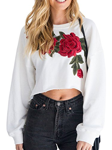 PERSUN Womens Fashion White 3D Embroidery Floral Dip Hem Crop Top Sweatshirt,Small