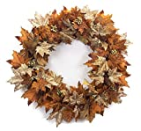 Melrose Pack of 2 Decorative Orange and Brown Autumn Leaf Wreath with Mini Grapes and Pinecones 30""