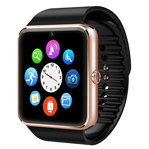 Sudroid Bluetooth Smart Watch GT08 Smart Health Wrist Watch Phone with SIM Card Slot for Android Samsung HTC LG(Full Functions) IOS iPhone 5/5s/6/plus(Partial functions) (Golden)