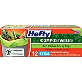 Hefty Compostables Tall Kitchen Scrap Bags (13 Gallon, 12 Count)