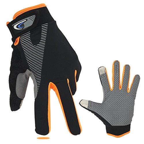 Full Finger Bike Gloves SiFree Wind Stopper Light Silicone Gel for Road Cycling, Mountain Biking, Racing, MTB & BMX Men and Women Mitt (Orange, L)