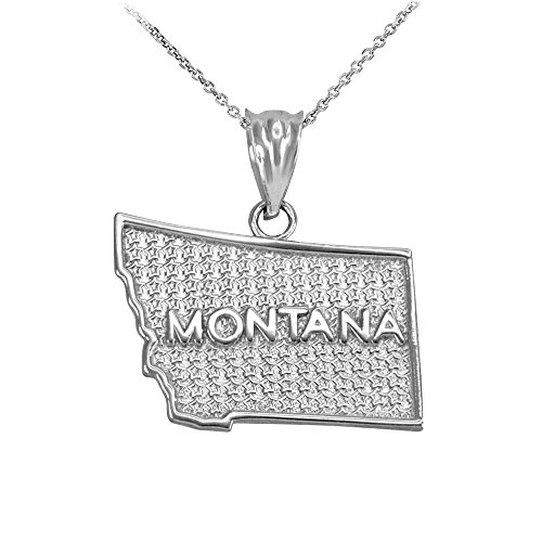925 Sterling Silver State Pendant Necklace, 22