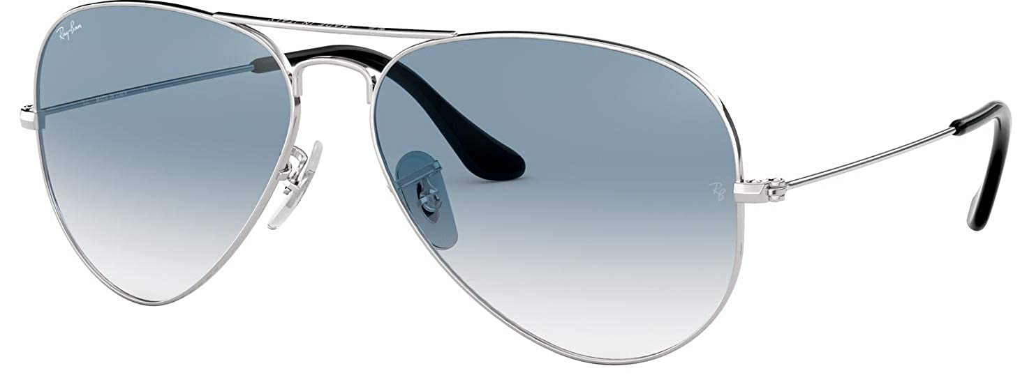 49bd9d1af7 Amazon.com  Ray-Ban RB3025 003 3F 55mm Silver   Crystal Gradient Light Blue  Made in Italy  Clothing