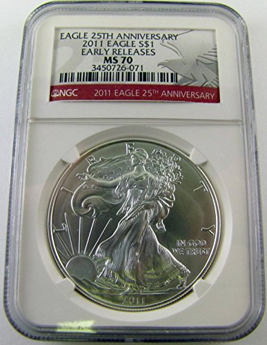 2011 Silver Eagle 25th Anniv Early Release $1 MS70 NGC