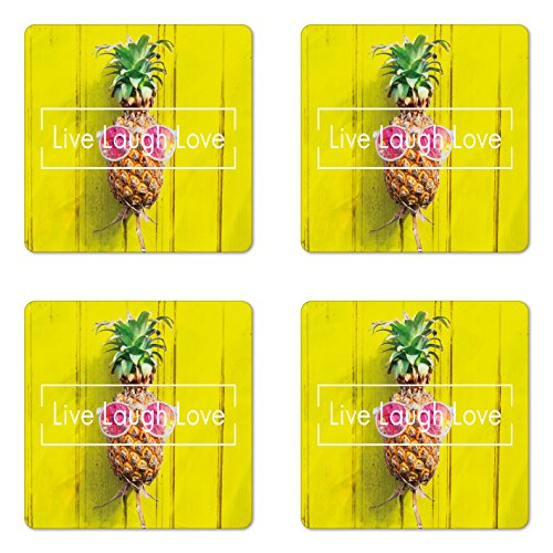 Live Laugh Love Coaster Set of Four by Ambesonne, Tropical Pineapple Fruit with Sunglasses on Yellow Wood Board Joyful Print, Square Hardboard Gloss Coasters for Drinks, Multicolor