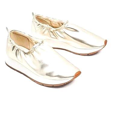 Amazon Com Zara Basic Women Gold Metallic Sneakers 6 Leather Like