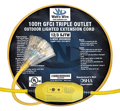 100ft 3 Outlet Extension Cord - 6