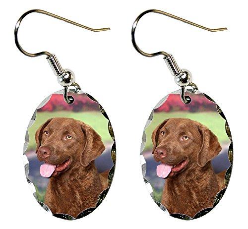 (Canine Designs Chesapeake Bay Retriever Scalloped Edge Oval Earrings)