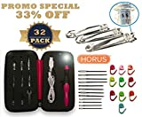 HORUS IMPROVED BLACK MARKED SIZE Rechargeable Lighted Crochet Hooks Set Ergonomic Handle Perfect for Arthritis Hands Light Up 9 in 1 Interchangeable heads (2.5 – 6.5) BONUS 32 PCs Accesories RedCase