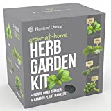 Planters' Choice Organic Herb Growing Kit + Herb Grinder - Complete Kit to Easily Grow 4 Herbs from Seed (Basil, Cilantro, Chives & Parsley) with Comprehensive Guide | Unique Gift